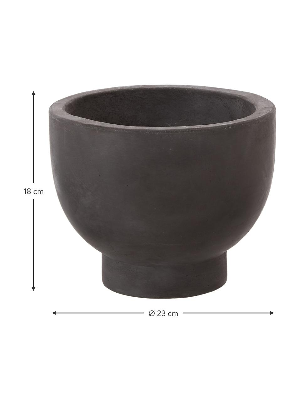 Großer Pflanztopf Rom aus Zement, Zement, bemalt, Schwarz, Ø 23 x H 18 cm