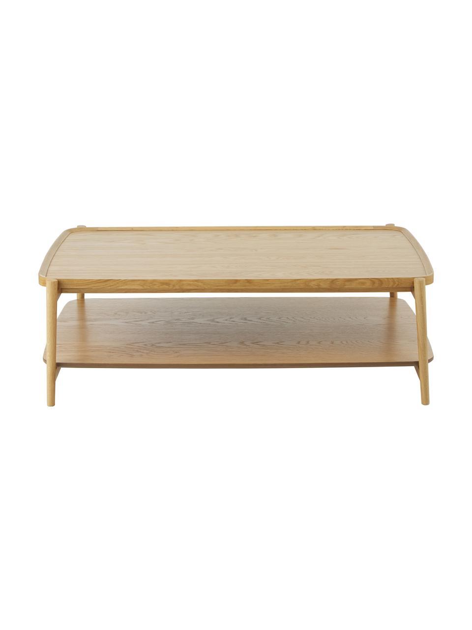 Stolik kawowy z drewna dębowego Libby, Stelaż: lite drewno dębowe, lakie, Jasny brązowy, S 110 x W 35 cm