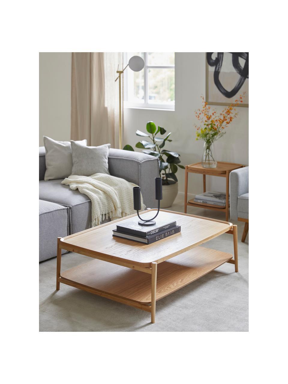 Stolik kawowy z drewna dębowego Libby, Blat: płyta pilśniowa średniej , Stelaż: lite drewno dębowe, lakie, Drewno dębowe, S 110 x W 35 cm