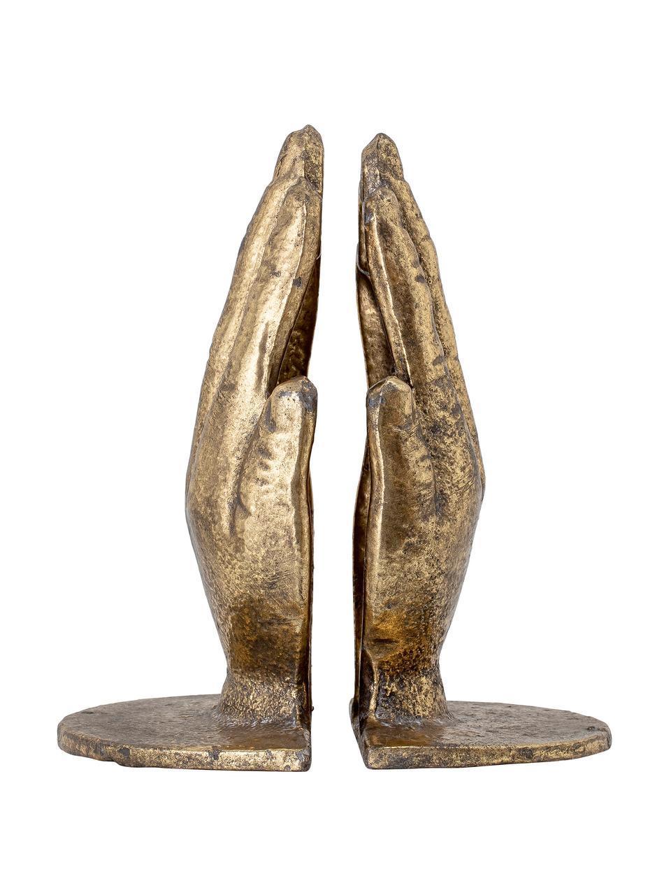 Set 2 fermalibri Bookend, Metallo, Dorato con  finitura antica, Larg. 15 x Alt. 18 cm