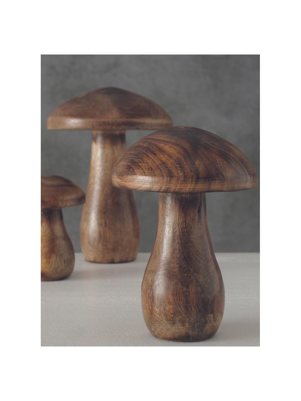 Champignons décoratifs en bois Terjol, 3élém., Brun