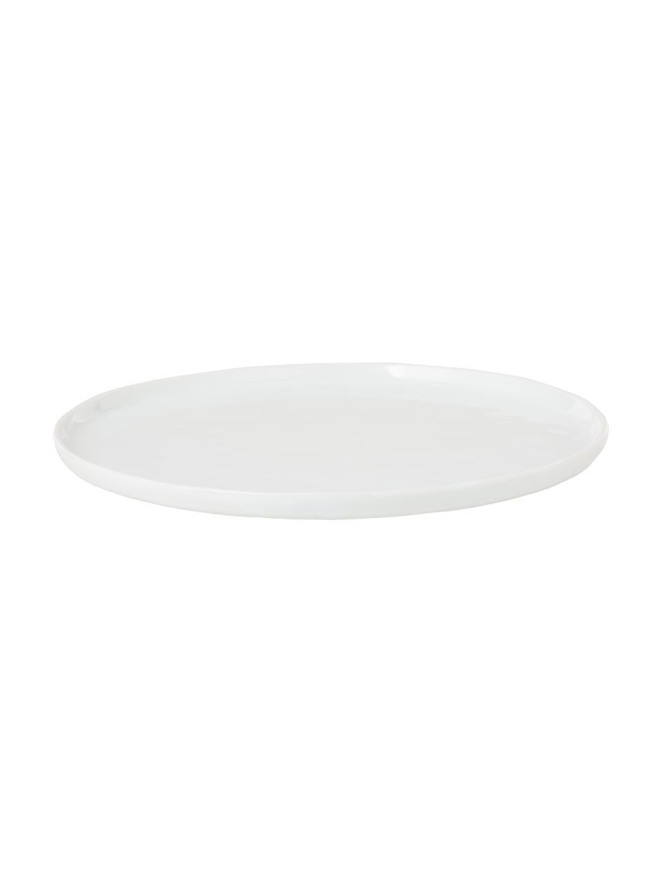 Piatto piano con superficie irregolare Porcelino 4 pz, Porcellana, volutamente irregolare, Bianco, Ø 27 cm