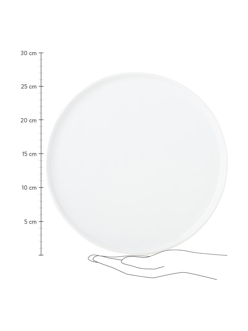 Speiseteller Porcelino mit unebener Oberfläche, 4 Stück, Porzellan, gewollt ungleichmäßig, Weiß, Ø 27 cm