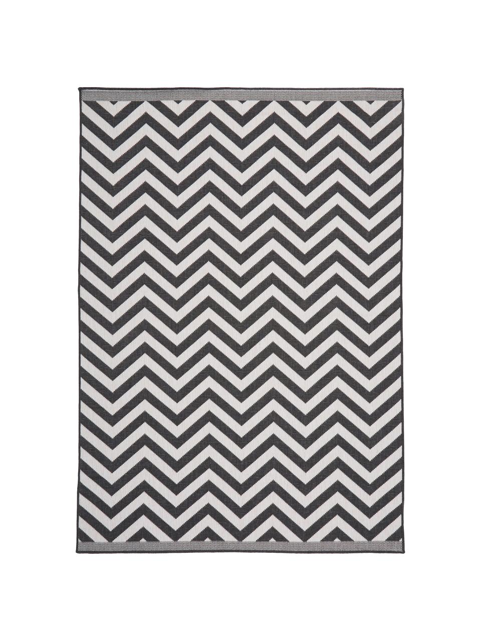 Dwustronny dywan wewnętrzny/zewnętrzny Palma, 100% polipropylen, Czarny, kremowy, S 200 x D 290 cm (Rozmiar L)