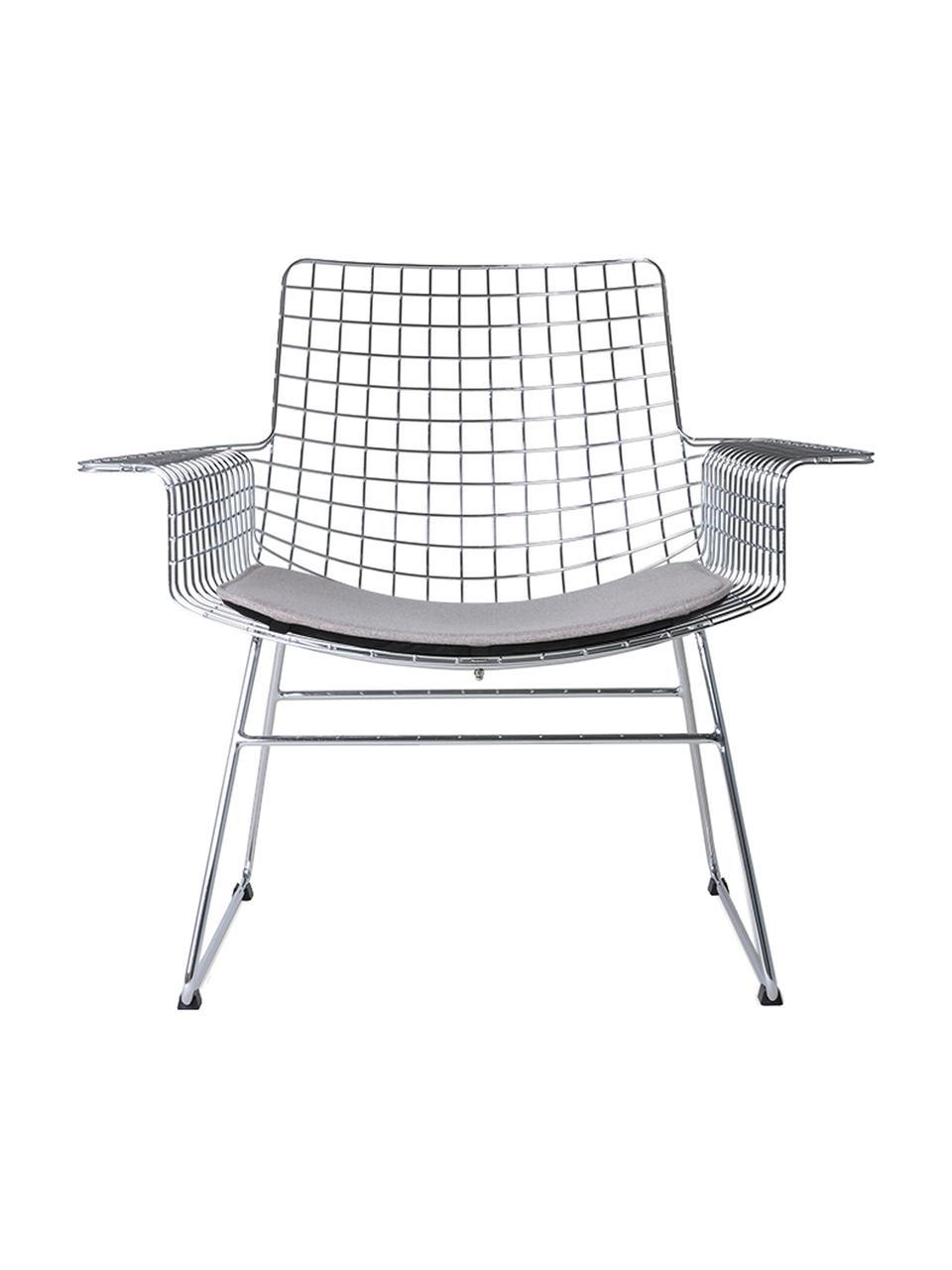Sedia a poltrona in metallo color cromo Wire, Metallo cromato, Cromo, Larg. 84 x Prof. 70 cm