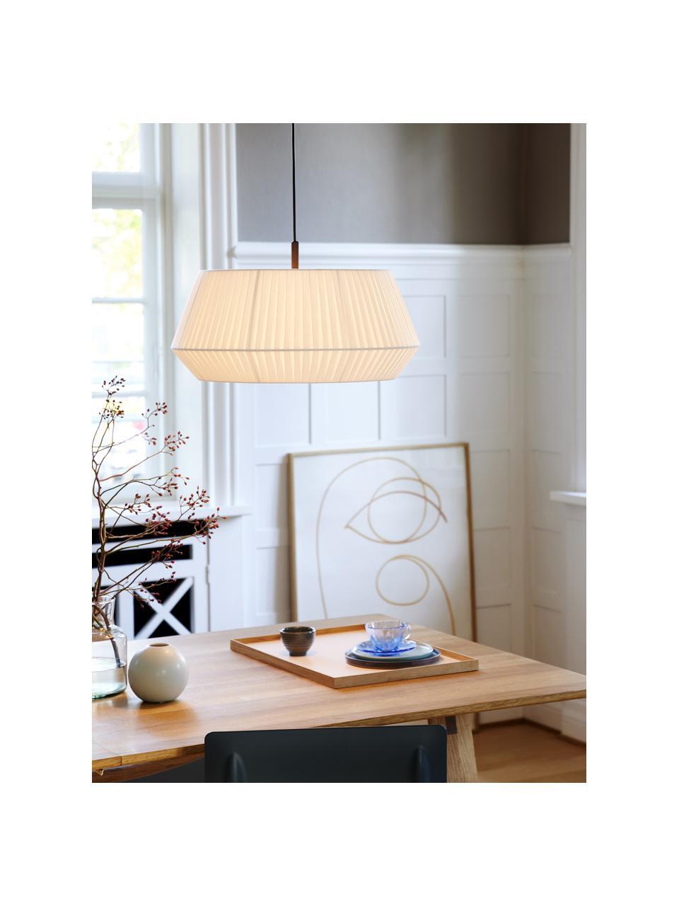 Klasická závesná lampa zo skladanej textílie Dicte, Biela, čierna