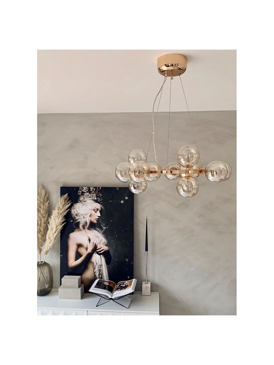 Runde Glaskugel Pendelleuchte Splendor, Baldachin: Metall, beschichtet, Kupferfarben, Ø 58 x H 22 cm