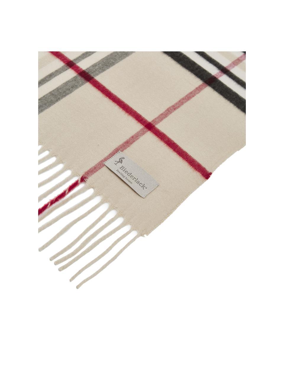 Pled Classy Side, 100% poliakryl, Beżowy, kremowy, czerwony, czarny, S 130 x D 170 cm