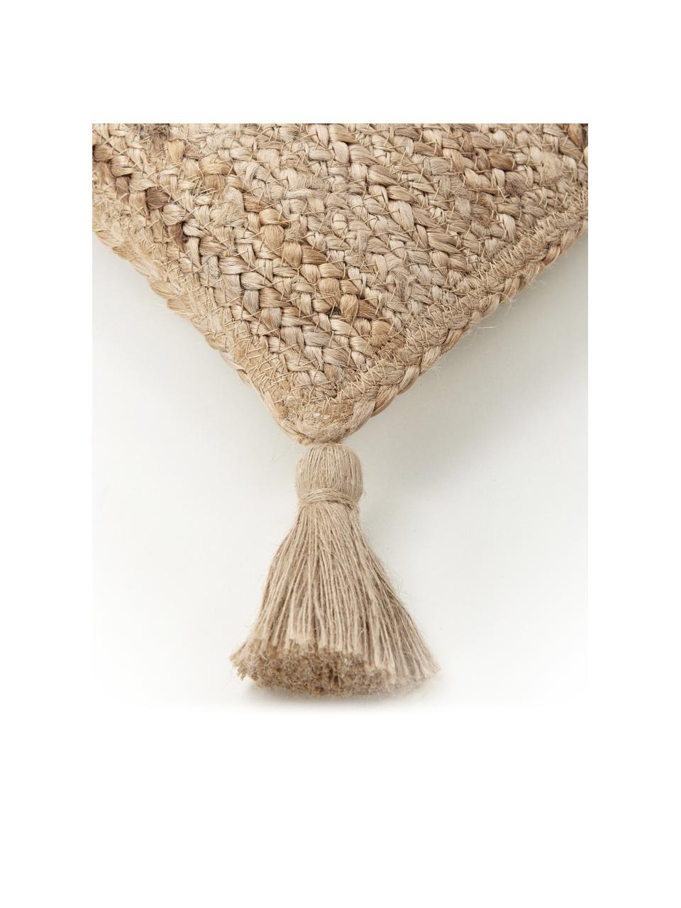 Jute-Kissenhülle Jerome mit Quasten, Rückseite: 100% Baumwolle, Beige,Weiß, 30 x 50 cm