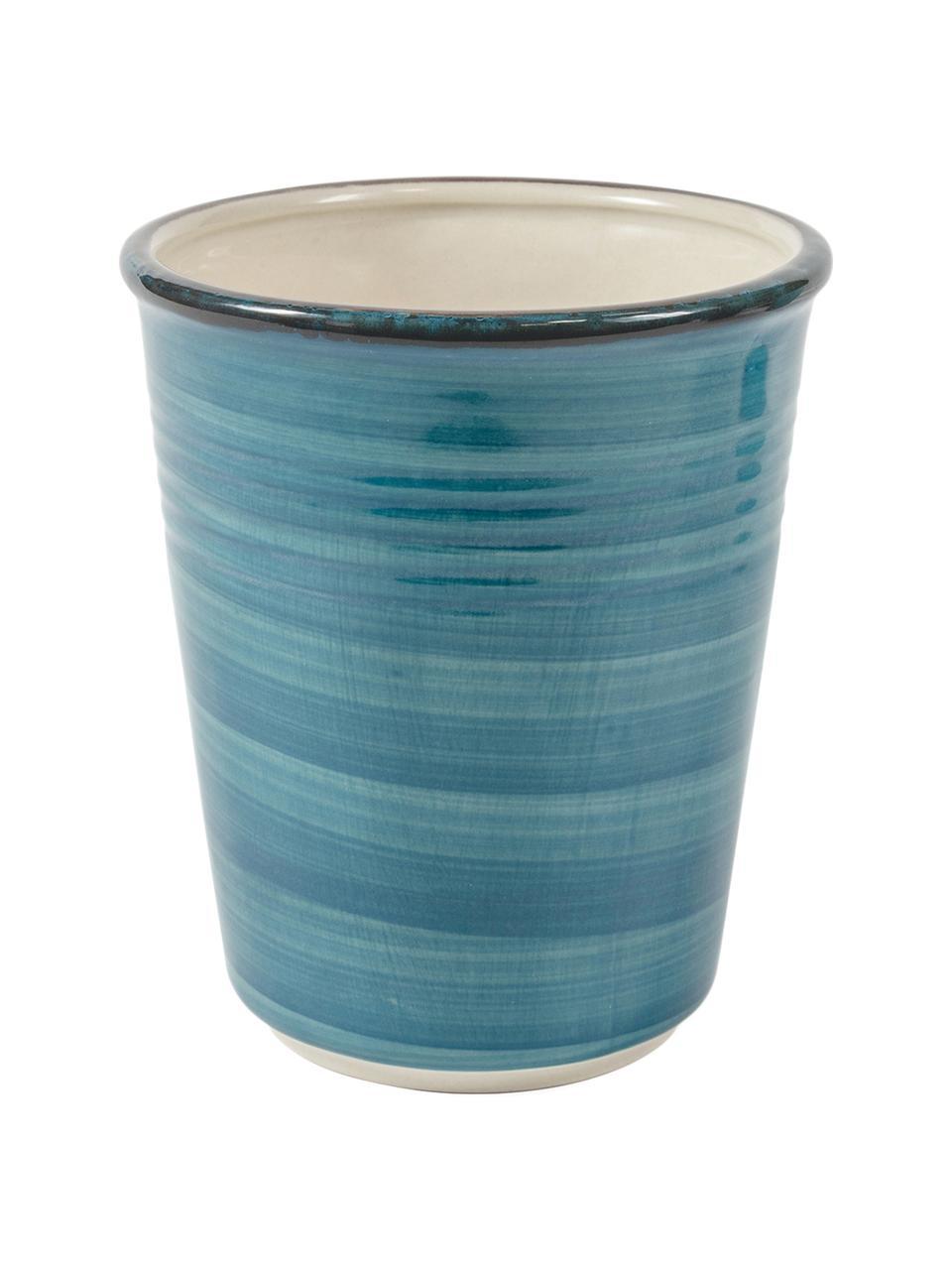 Set 6 tazze senza manico tonalità blu Baita, Gres (pietra dolomitica) dipinta a mano, Tonalità blu, Ø 9 x Alt. 11 cm