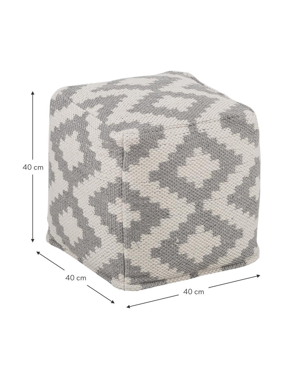 In- & outdoor poef Napua, Bekleding: 100% gerecycled polyester, Grijs, ecru, 40 x 40 cm
