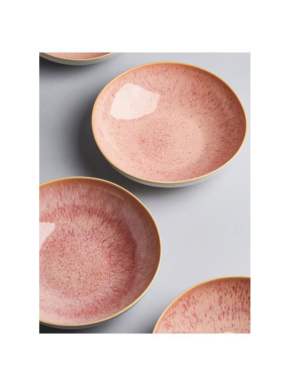 Ciotola da portata dipinta a mano Areia, Gres, Tonalità rosse, bianco latteo, beige chiaro, Ø 22 x Alt. 5 cm