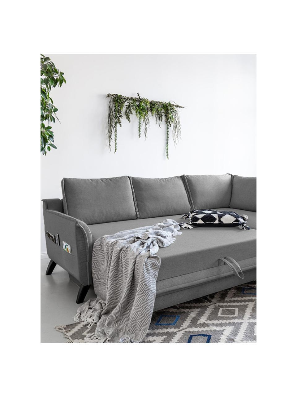 Divano letto angolare in tessuto grigio Charming Charlie, Rivestimento: 100% poliestere con sensa, Struttura: legno, truciolato, Grigio, Larg. 230 x Prof. 200 cm