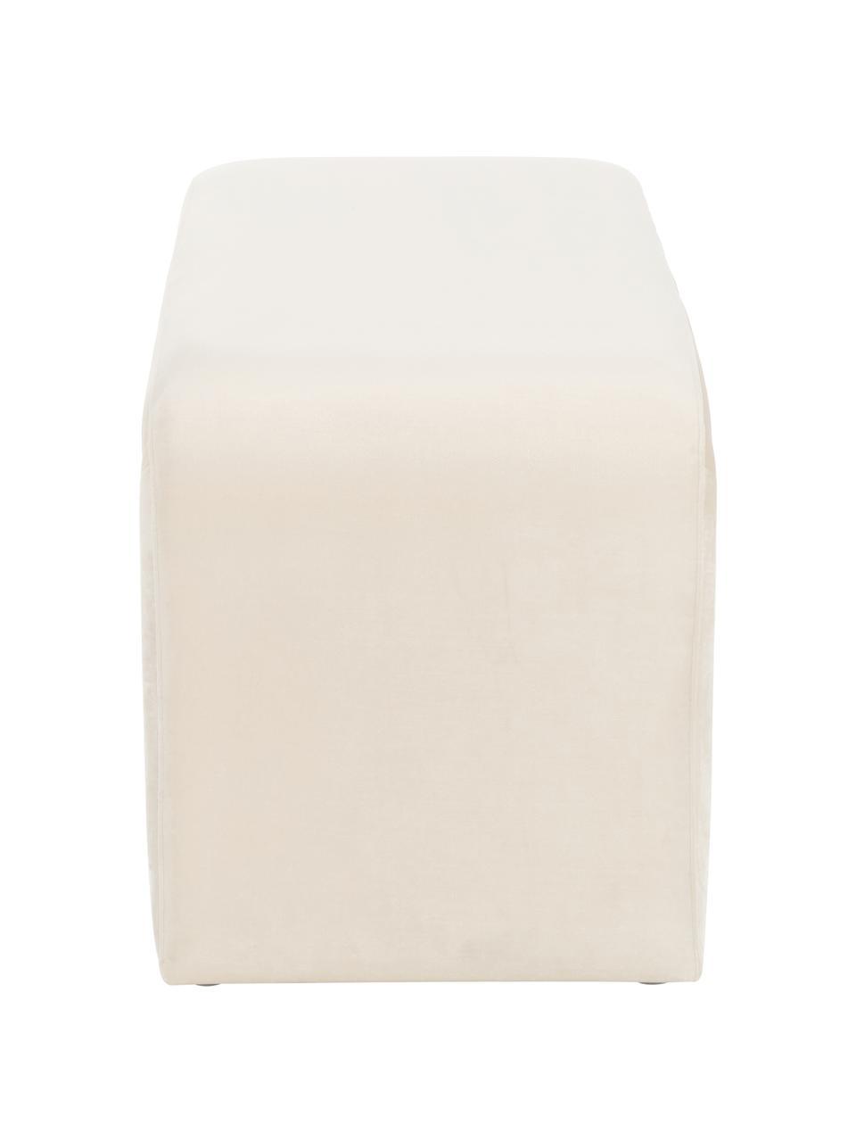 Moderne Samt-Polsterbank Penelope, Bezug: Samt (Polyester) 25.000 S, Gestell: Metall, Spanholz, Cremeweiß, 110 x 46 cm