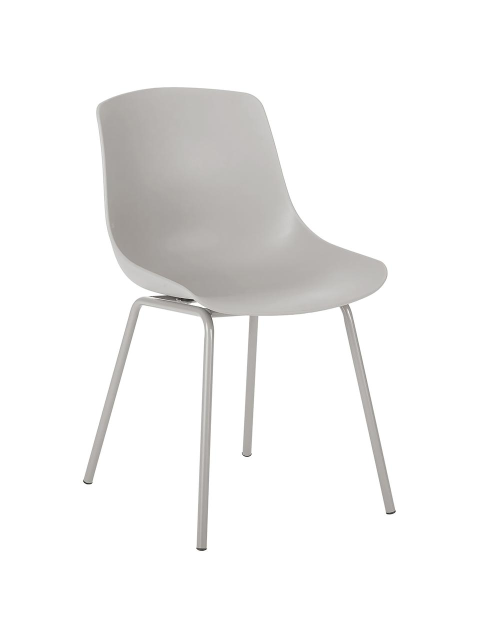 Kunststoffstühle Dave mit Metallbeinen in Taupe, 2 Stück, Sitzfläche: Kunststoff, Beine: Metall, pulverbeschichtet, Taupe, B 46 x T 53 cm