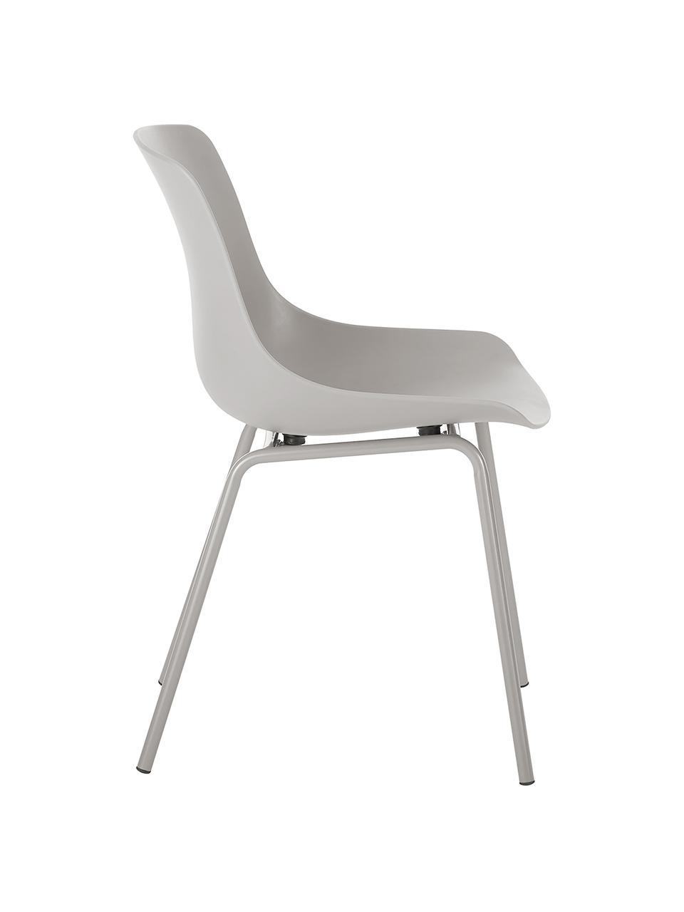 Sedia color taupe con gambe in metallo Dave 2 pz, Seduta: materiale sintetico, Gambe: metallo verniciato a polv, Taupe, Larg. 46 x Prof. 53 cm