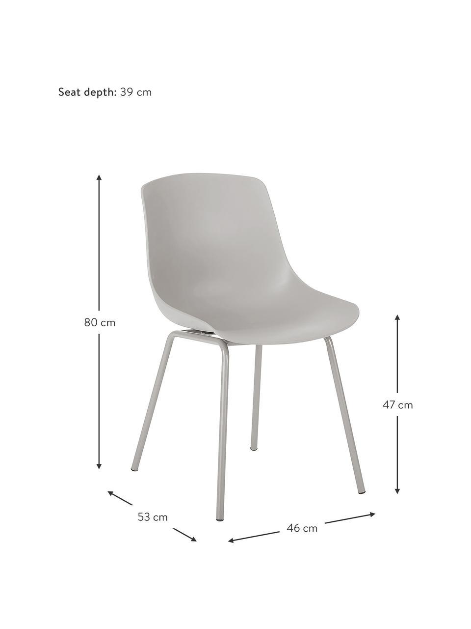 Krzesło z tworzywa sztucznego z metalowymi nogami Joe, 2 szt., Nogi: metal malowany proszkowo, Taupe, S 46 x G 53 cm