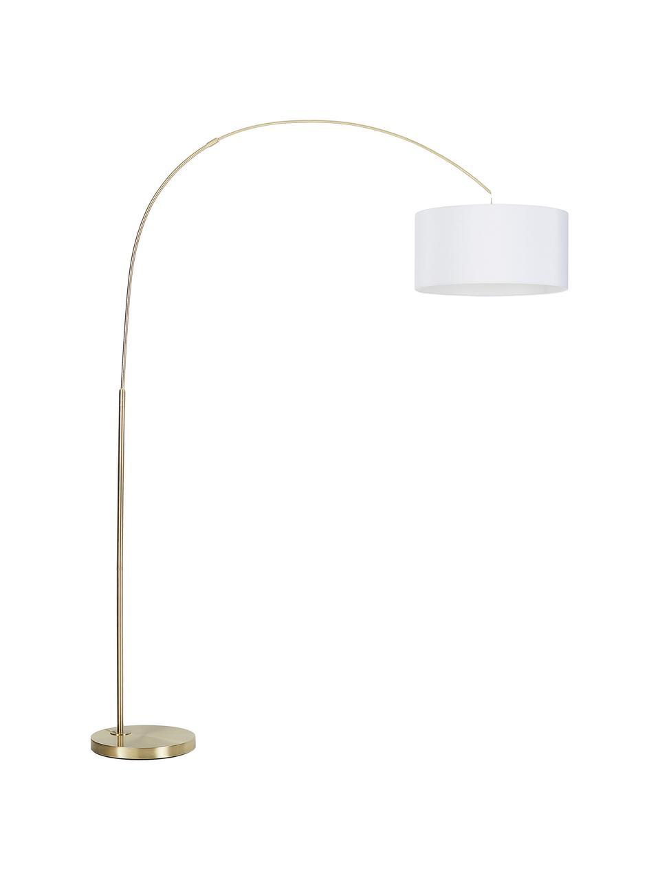 Lampada ad arco moderna Niels, Paralume: miscela di cotone, Base della lampada: metallo spazzolato, Paralume: bianco Base della lampada: ottonato Cavo: trasparente, Larg. 157 x Alt. 218 cm