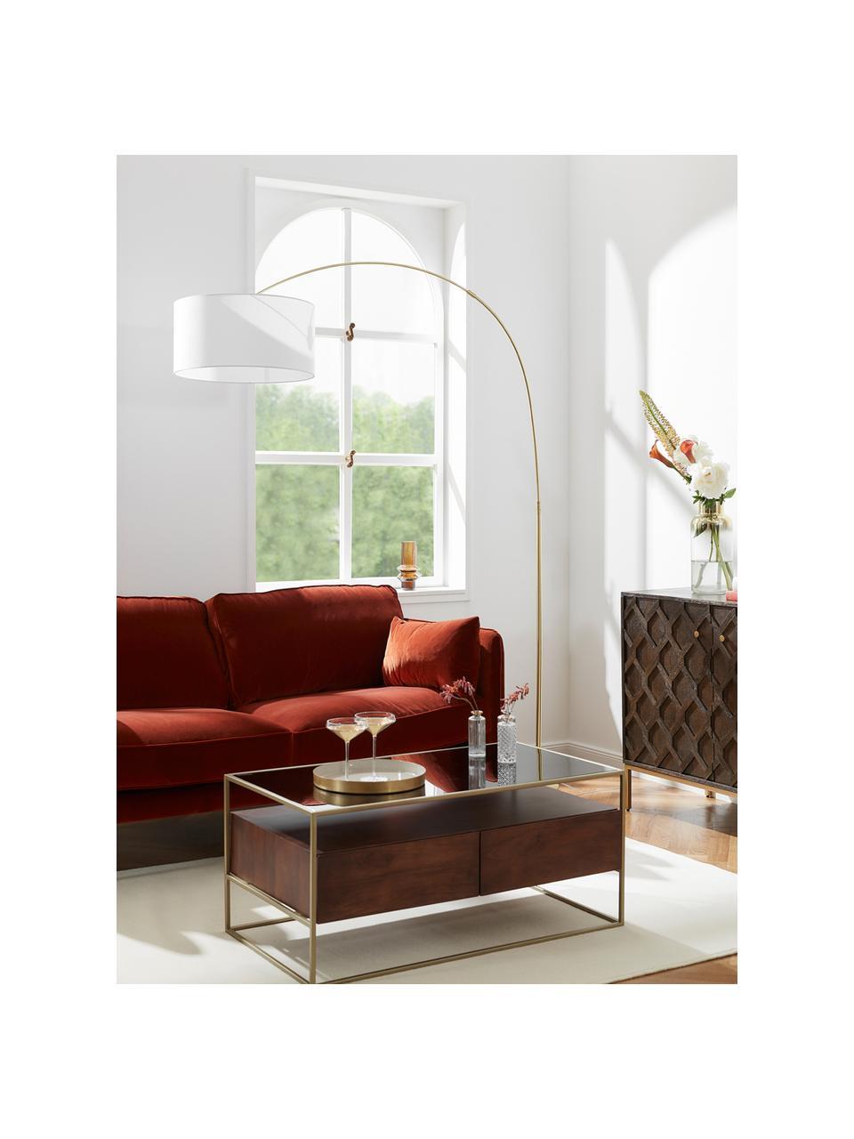Veľká oblúková lampa Niels, Biela, mosadzné odtiene, priehľadná