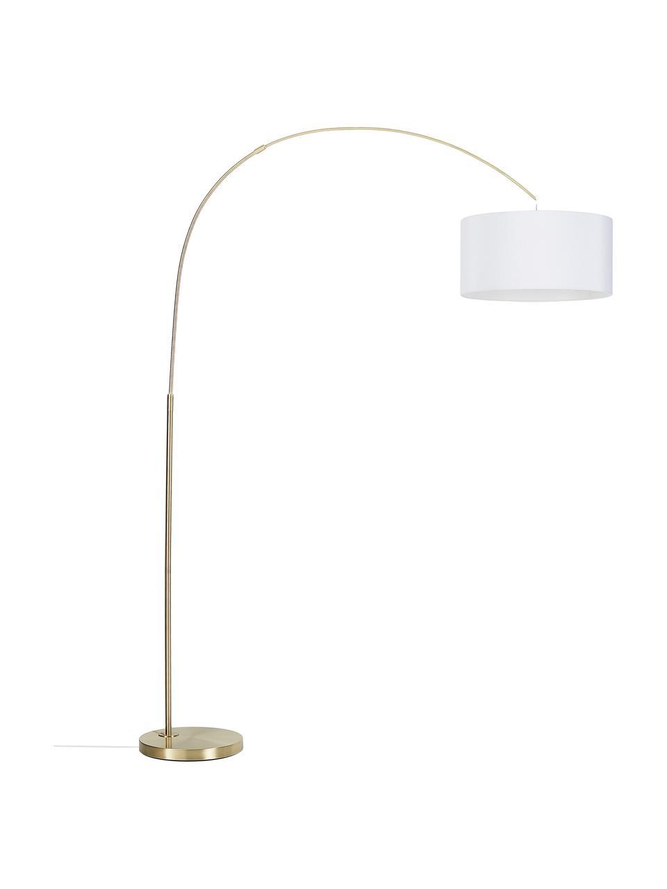 Große Bogenlampe Niels in Messing, Lampenfuß: Metall, gebürstet, Lampenschirm: Textil, Weiß, Messingfarben, Transparent, Ø 50 x H 218 cm