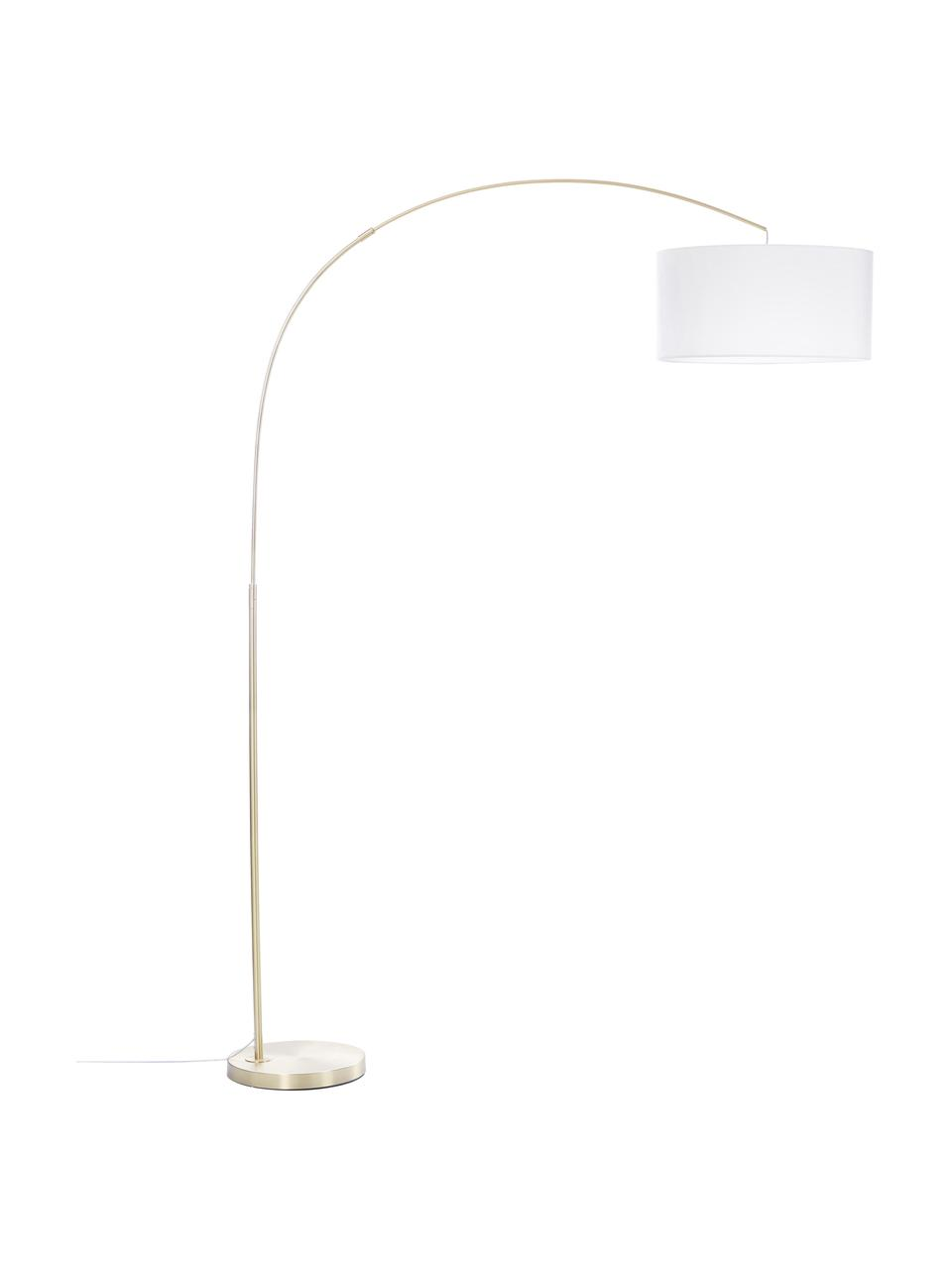 Grote booglamp Niels in messing, Lampenkap: katoenmix, Lampvoet: geborsteld metaal, Lampenkap: wit. Lampvoet: messingkleurig. Snoer: transparant, 157 x 218 cm