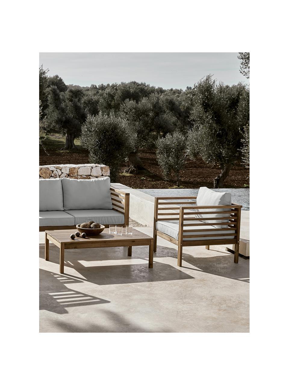 Set lounge de exterior Bo, 4pzas., Tapizado: poliéster (resistente a l, Estructura: madera de acacia maciza a, Gris, acacia, Set de diferentes tamaños