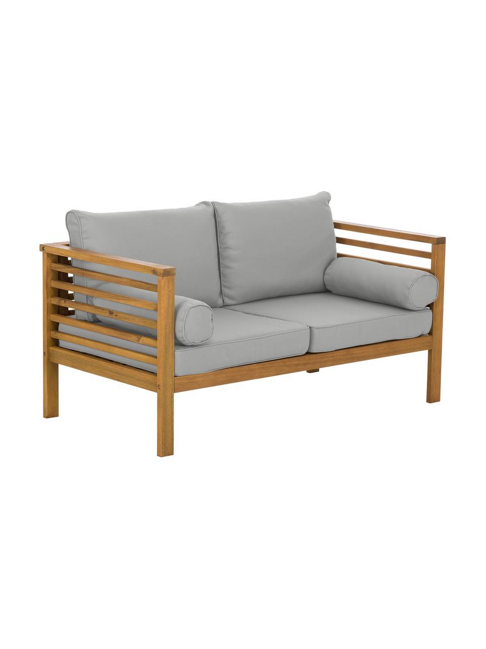 Salotto da giardino Bo 4 pz, Rivestimento: poliestere (resistente ai, Rivestimenti: grigio Struttura: legno d'acacia, Set in varie misure