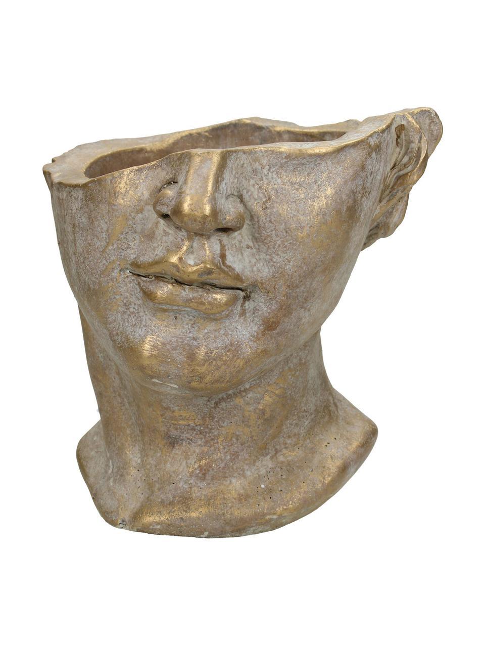 Übertopf Face aus Beton, Beton, Goldfarben mit Antik-Finish, 20 x 19 cm