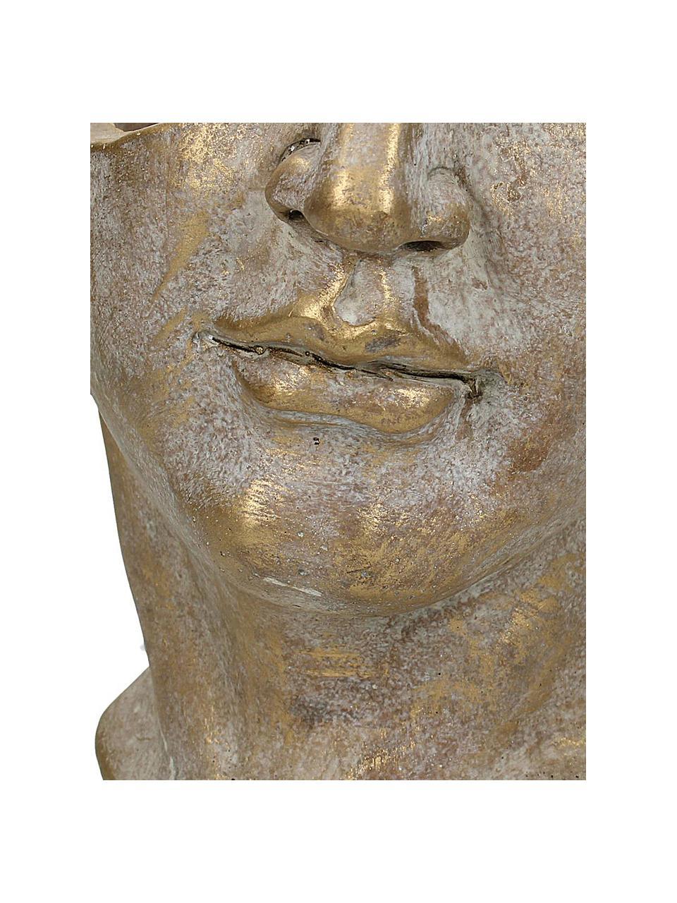 Osłonka na doniczkę z betonu  Face, Beton, Odcienie złotego z antycznym wykończeniem, S 20 x W 19 cm