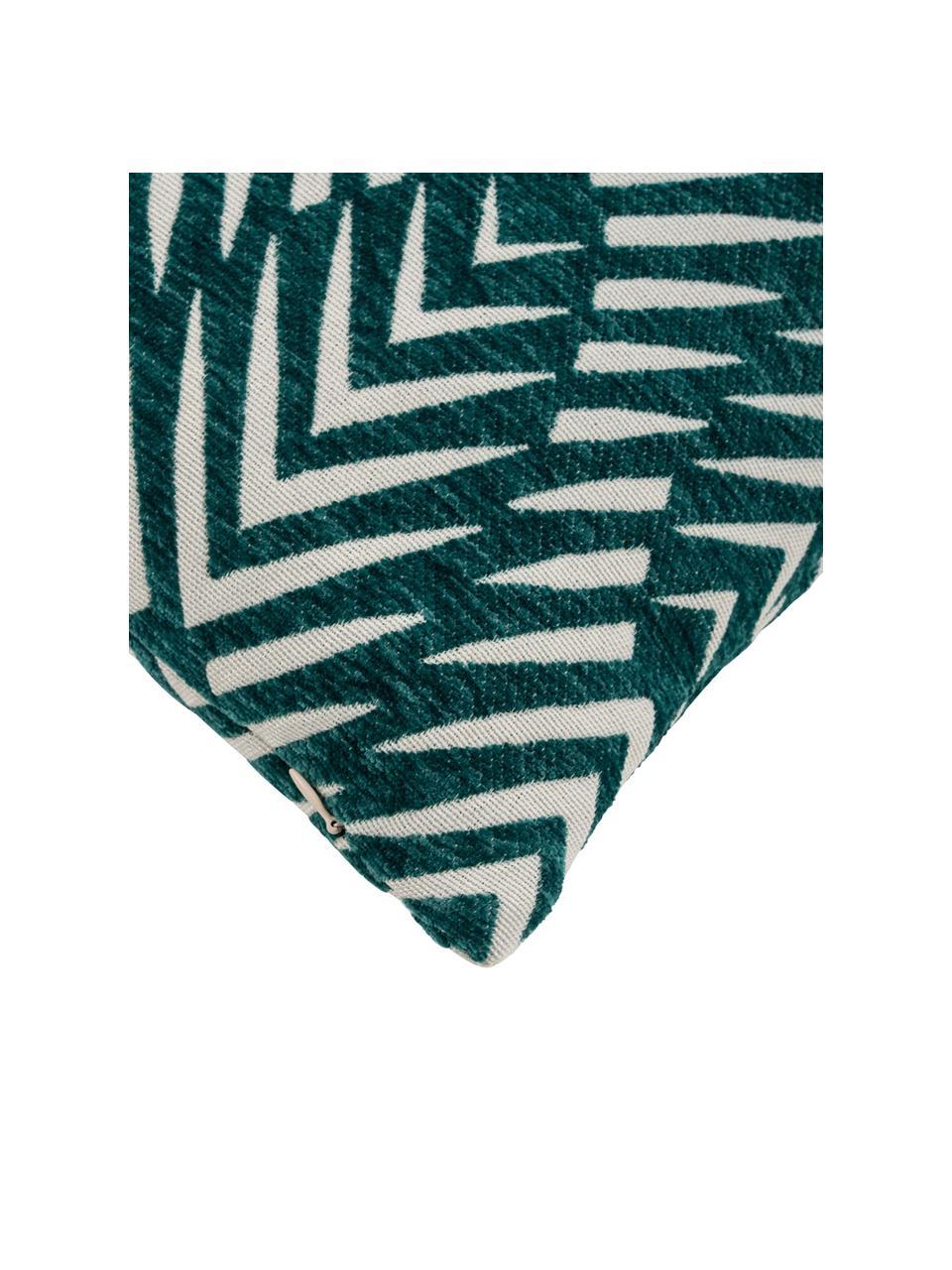 Kissenhülle Esko mit Hoch-Tief-Muster, Vorderseite: 50% Polyester, 50% Baumwo, Rückseite: Baumwolle, Petrol, 45 x 45 cm