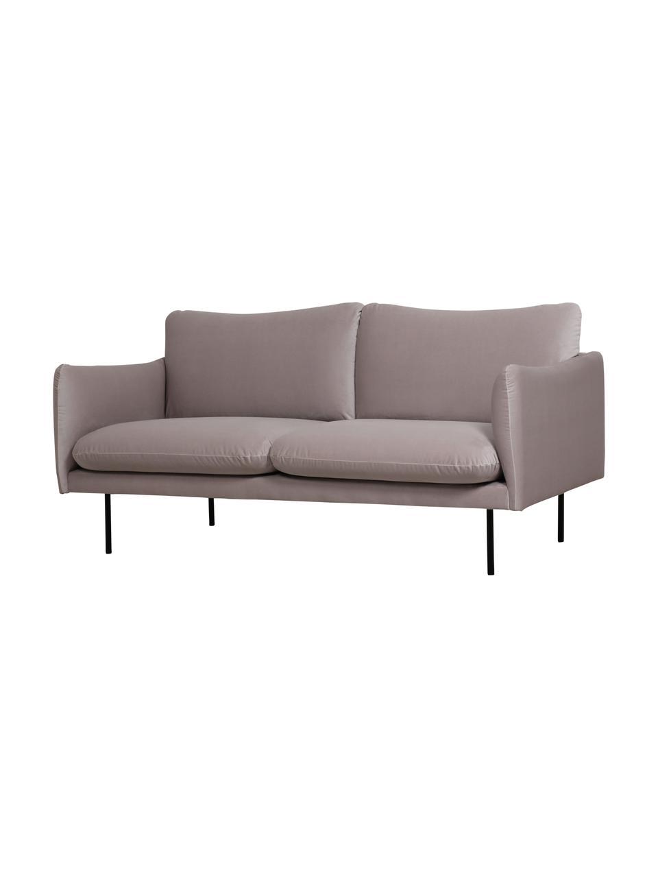 Canapé 2places velours taupe avec pieds en métal Moby, Velours beige