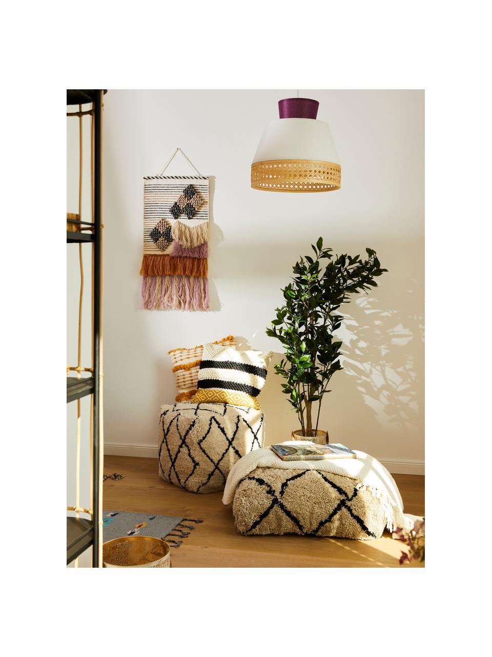Ręcznie tuftowana poduszka podłogowa Naima, Tapicerka: 100% poliester, Beżowy, czarny, S 70 x W 20 cm