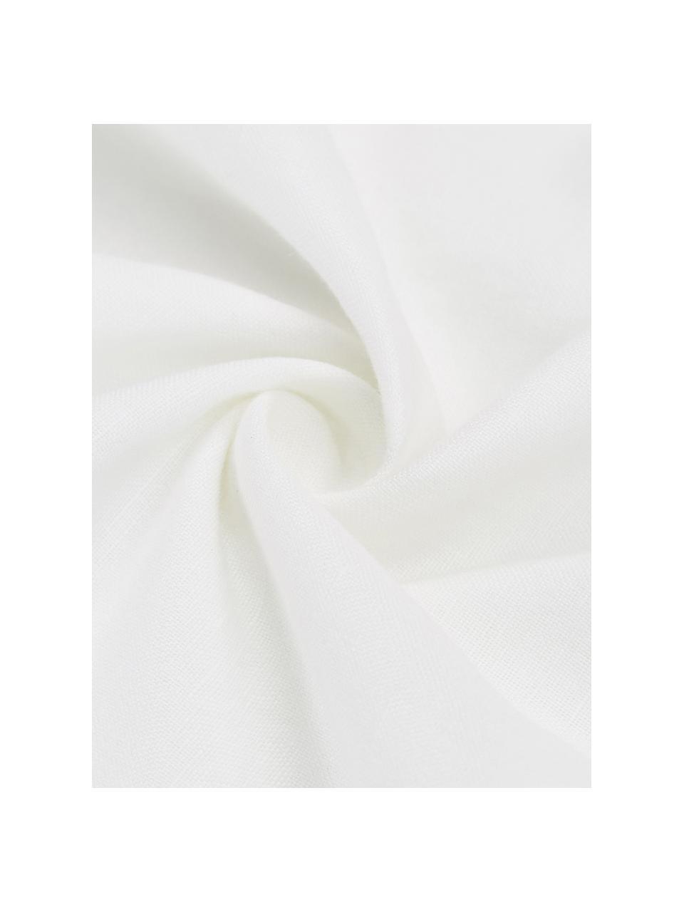 Gewaschene Leinen-Bettwäsche Eleanore in Weiß/Beige, Halbleinen (52% Leinen, 48% Baumwolle)  Fadendichte 136 TC, Standard Qualität  Halbleinen hat von Natur aus einen kernigen Griff und einen natürlichen Knitterlook, der durch den Stonewash-Effekt verstärkt wird. Es absorbiert bis zu 35% Luftfeuchtigkeit, trocknet sehr schnell und wirkt in Sommernächten angenehm kühlend. Die hohe Reißfestigkeit macht Halbleinen scheuerfest und strapazierfähig., Weiß, Beige, 240 x 220 cm + 2 Kissen 80 x 80 cm