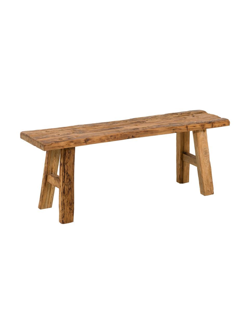 Ławka z drewna tekowego z recyklingu Decorative, Naturalne drewno tekowe, Drewno tekowe, S 120 x W 45 cm