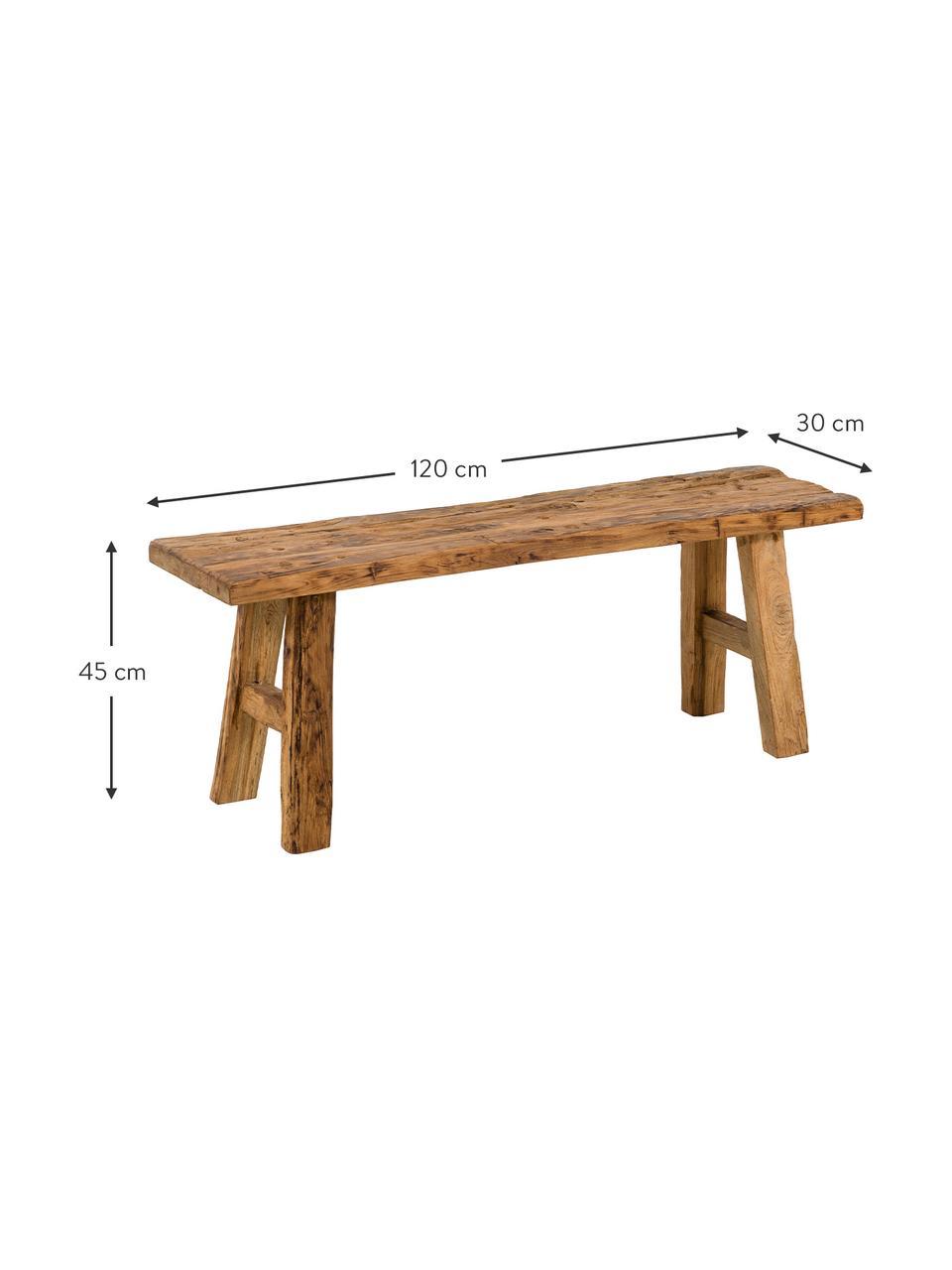 Panchina in legno di teak riciclato Decorative, Legno di teak, finitura naturale, Legno di teak, Larg. 120 x Alt. 45 cm