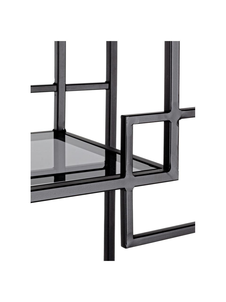 Metall-Standregal Korvet in Schwarz mit Glasböden, Gestell: Metall, epoxidiert und pu, Einlegeböden: Glas, Schwarz, Grau, transparent, 71 x 183 cm