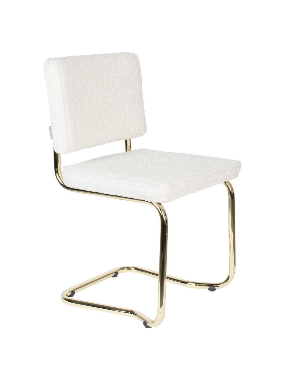 Sedia cantilever in teddy Kink, Struttura: metallo rivestito, Bianco, ottonato, Larg. 48 x Prof. 48 cm