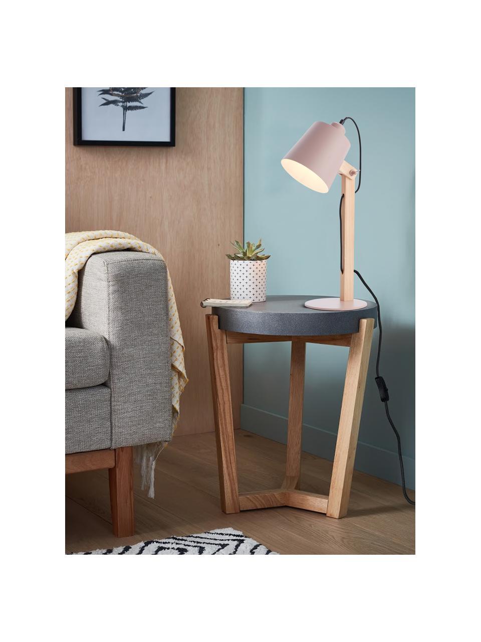 Große Schreibtischlampe Swivel mit Holzfuß, Lampenschirm: Metall, Lampenfuß: Metall, Rosa, Holz, 16 x 52 cm
