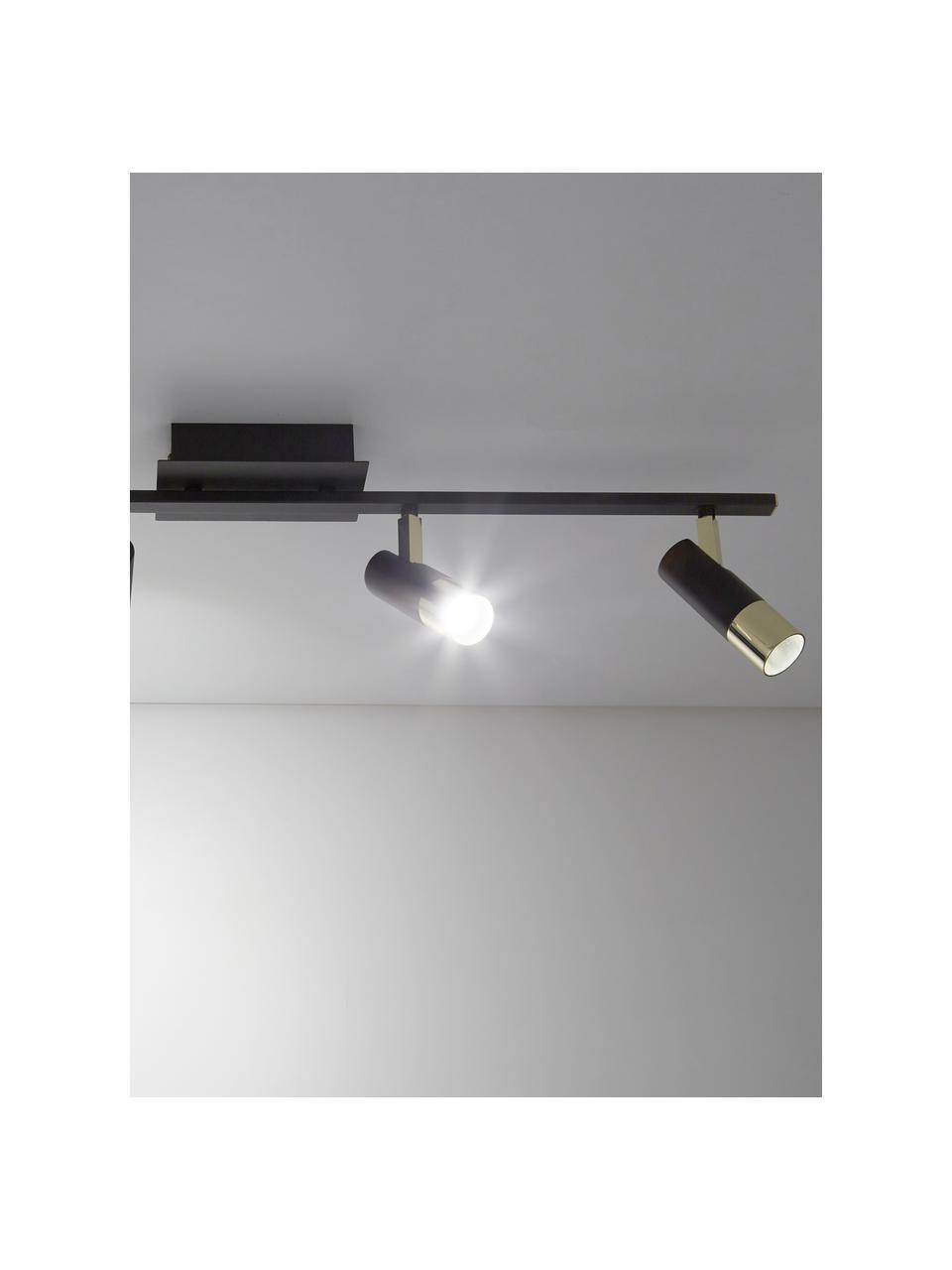 LED plafondspot Bobby in zwart-goudkleur, Baldakijn: gepoedercoat metaal, Zwart, goudkleurig, 78 x 18 cm