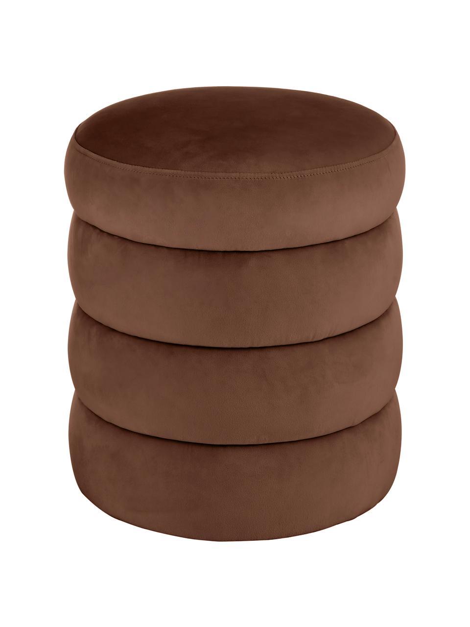 Sgabello in velluto marrone Alto, Rivestimento: velluto (100% poliestere), Struttura: legno di pino massiccio, , Velluto marrone, Ø 42 x Alt. 48 cm