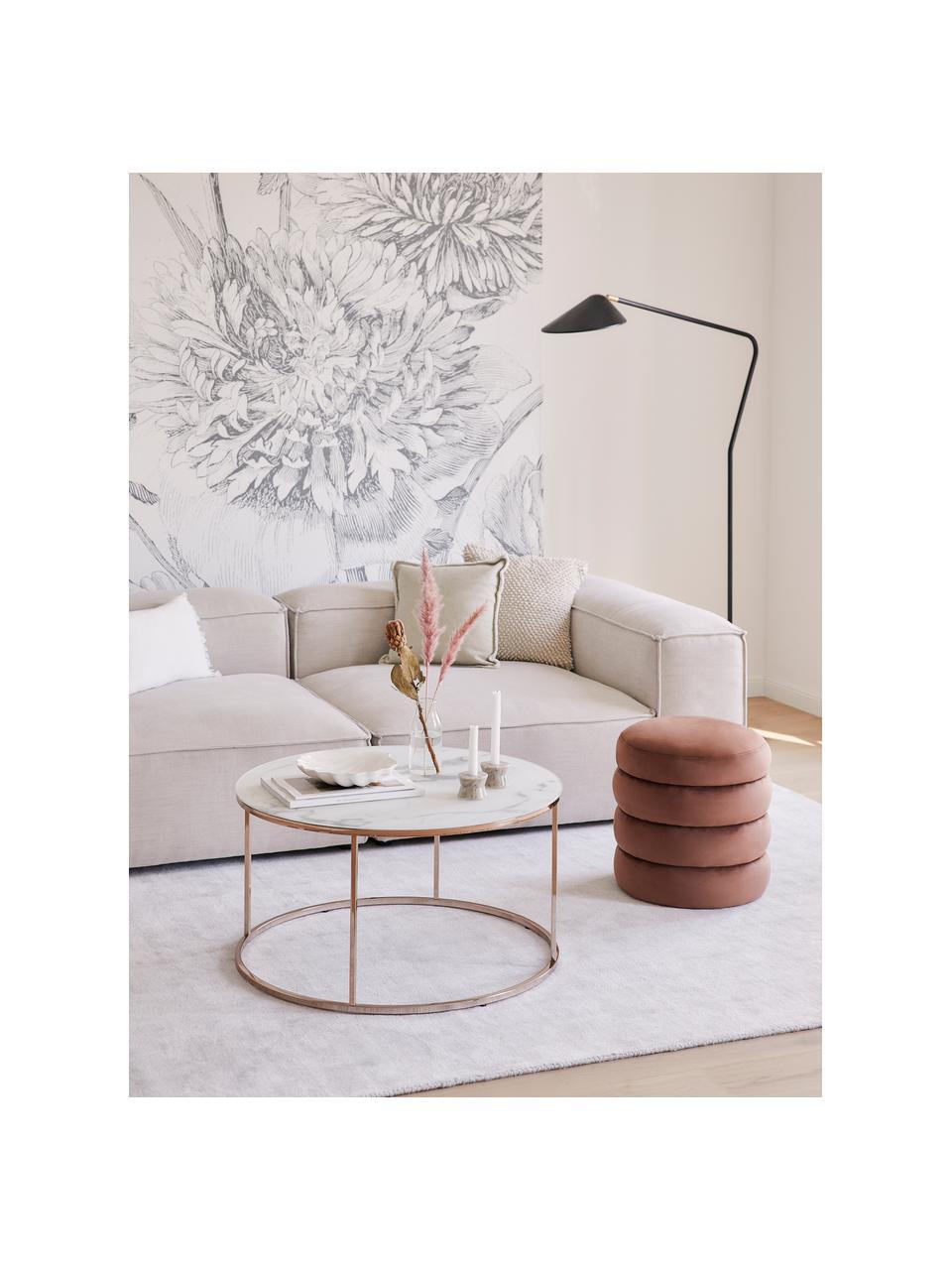 Fluwelen poef Alto, Bekleding: fluweel (polyester), Frame: massief grenenhout, multi, Fluweel bruin, Ø 42 x H 47 cm