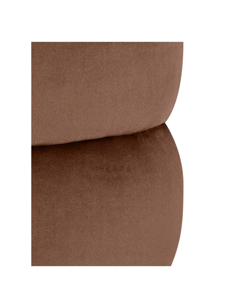 Puf z aksamitu Alto, Tapicerka: aksamit (poliester) Dzięk, Stelaż: lite drewno sosnowe, skle, Aksamitny brązowy, Ø 42 x W 47 cm
