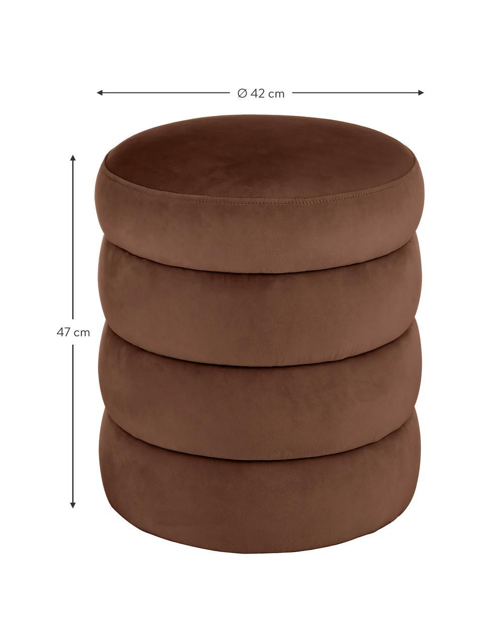 Puf z aksamitu Alto, Tapicerka: aksamit (100% poliester) , Stelaż: lite drewno sosnowe, skle, Aksamitny brązowy, Ø 42 x W 47 cm