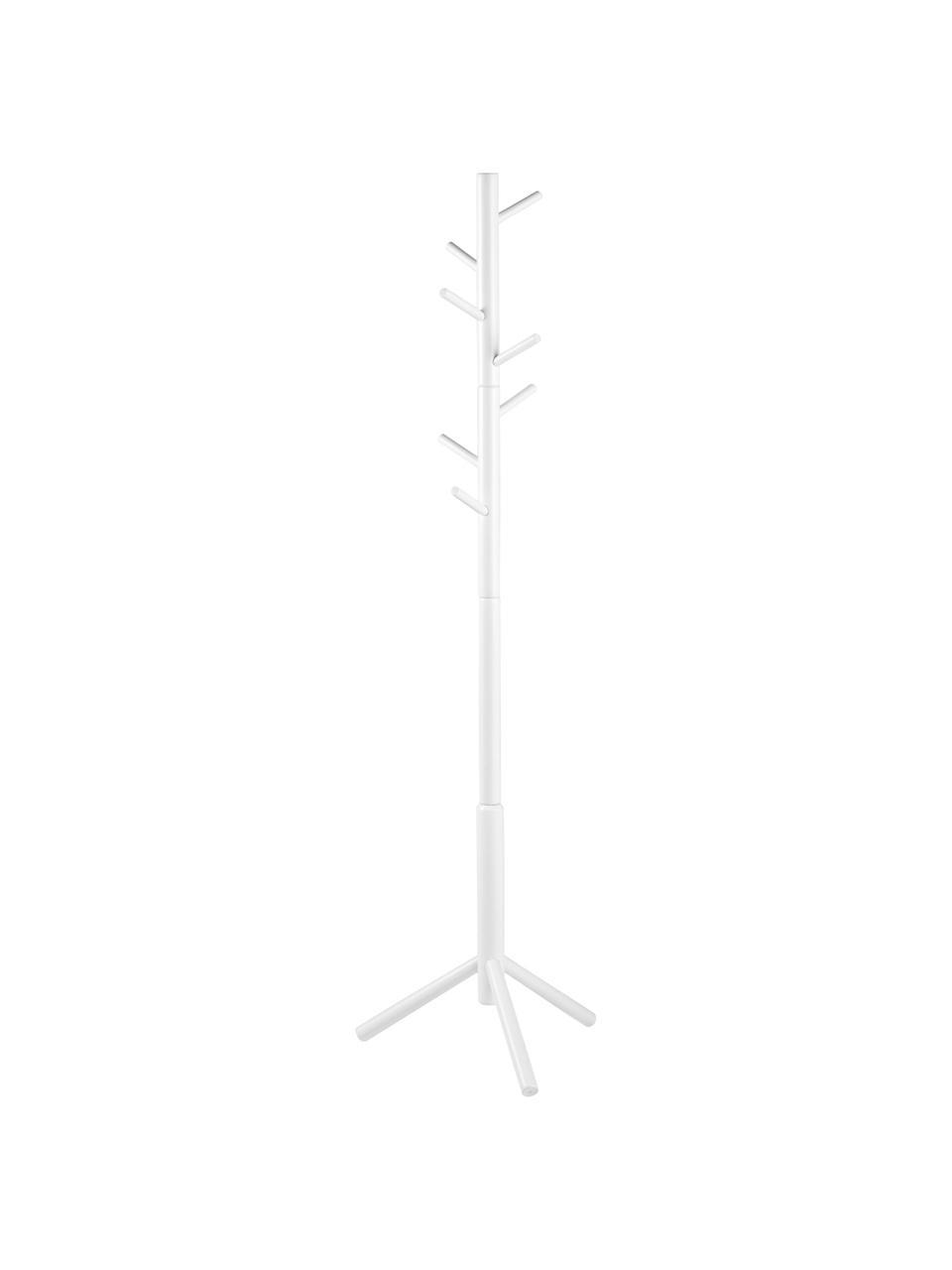 Wieszak stojący z drewna z 6 hakami Bremen, Drewno kauczukowe, lakierowane, Biały, S 51 x W 176 cm