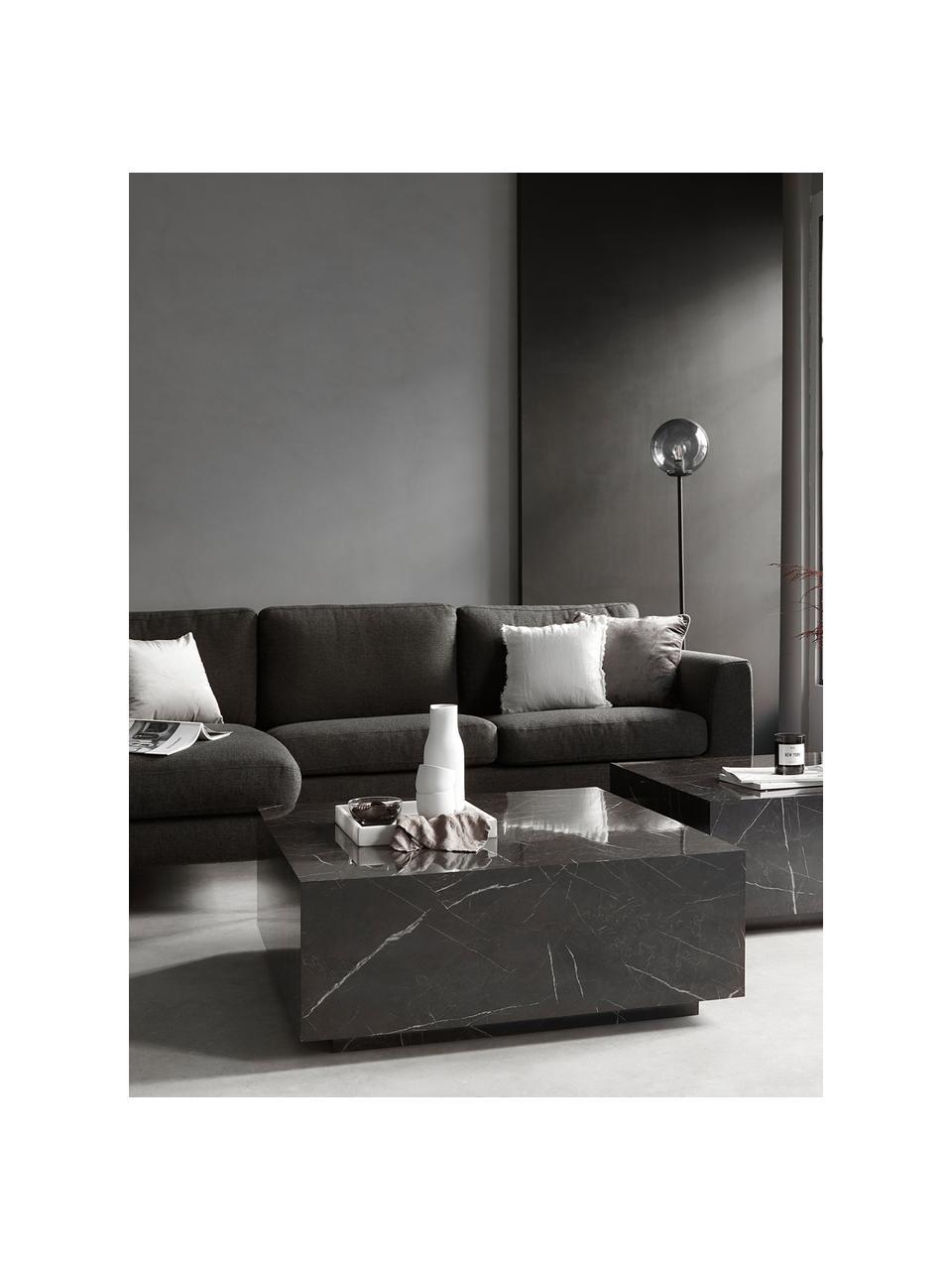 Tavolino da salotto effetto marmo Lesley, Pannello di fibra a media densità (MDF) rivestito con foglio di melamina, Nero marmorizzato, Larg. 90 x Alt. 35 cm