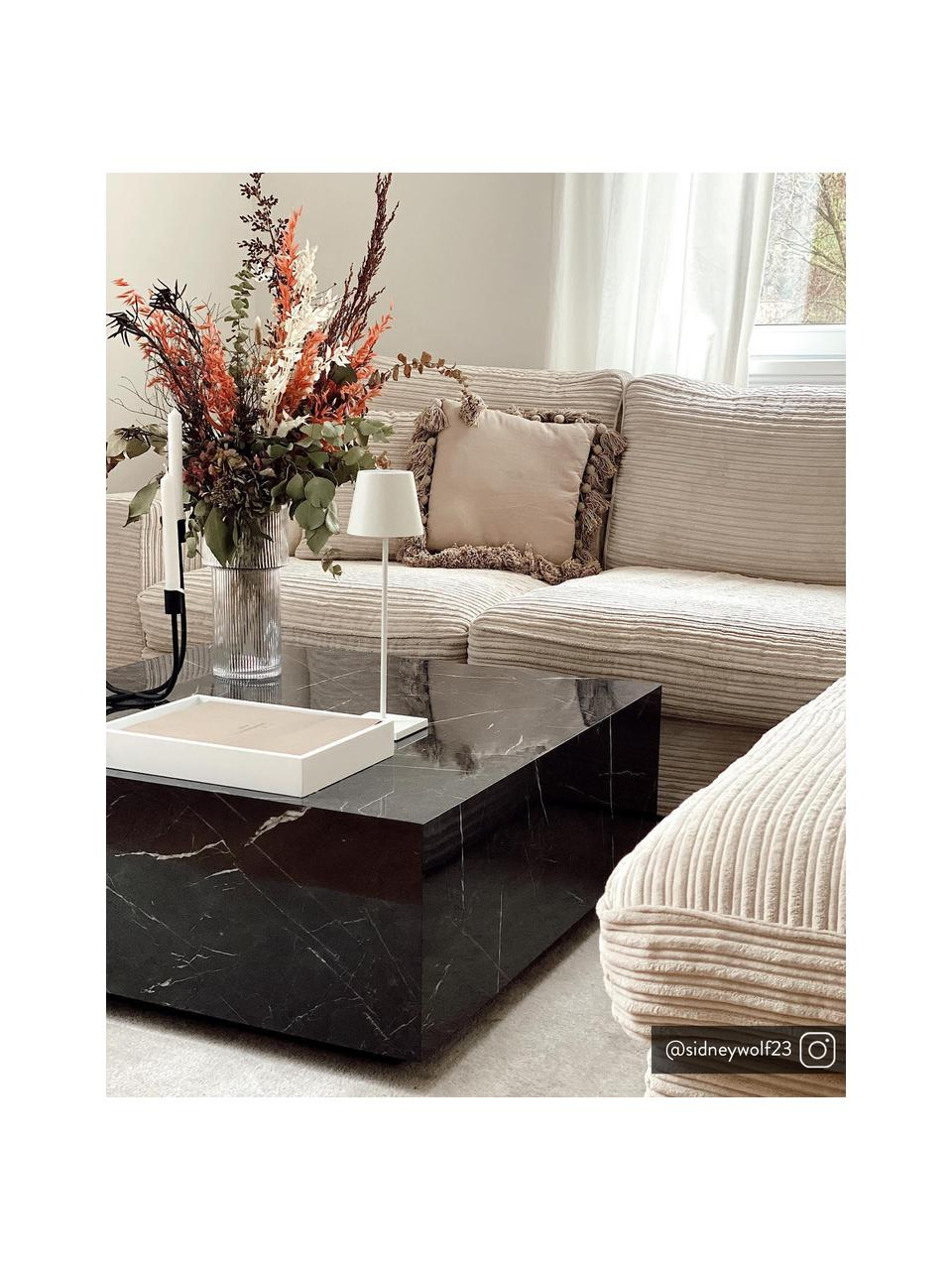 Konferenčný stolík s mramorovým vzhľadom Lesley, Čierna, mramorový vzhľad