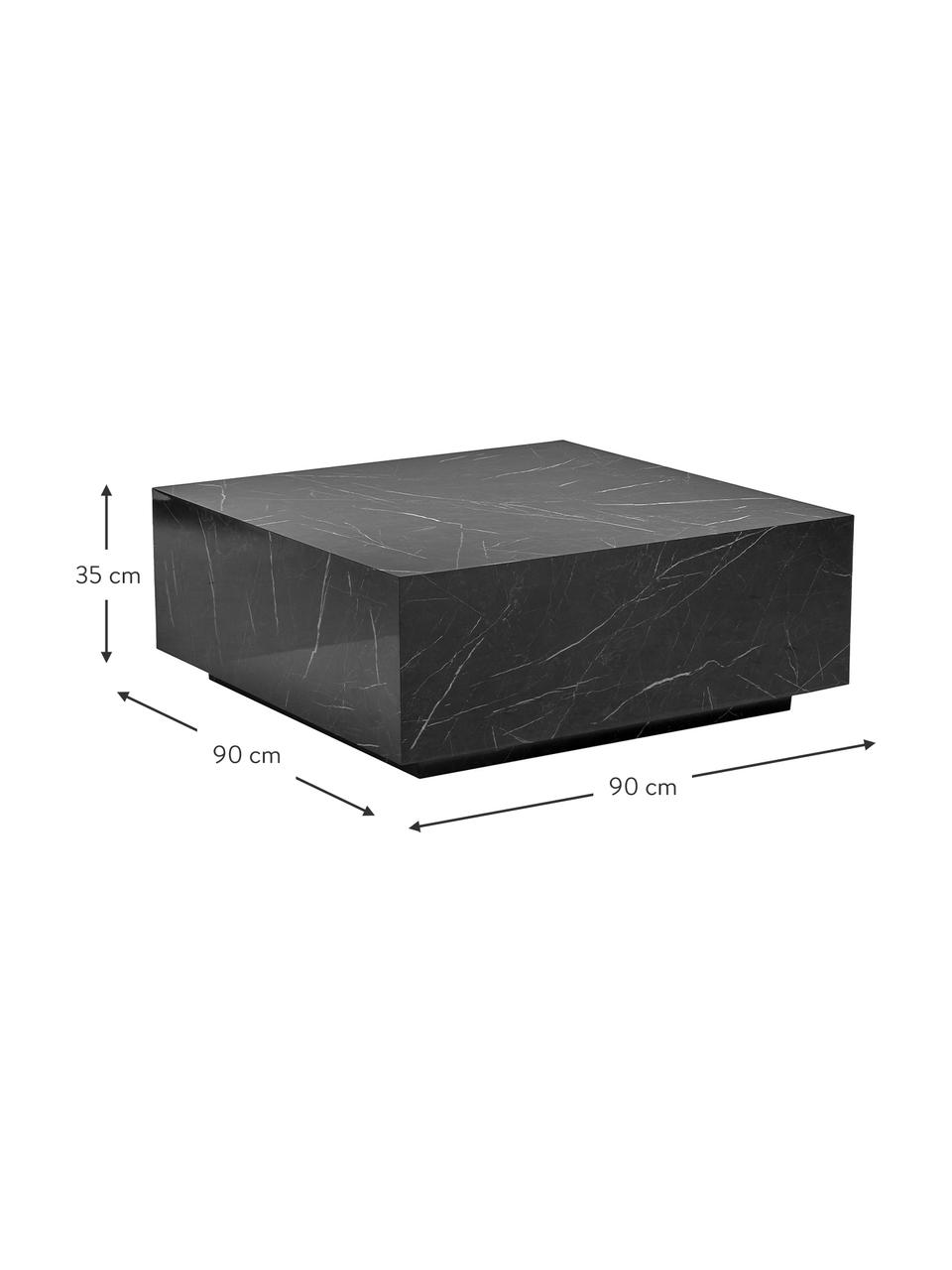 Tavolino da salotto vuoto effetto marmo Lesley, Pannello di fibra a media densità (MDF) rivestito con foglio di melamina, Nero effetto marmorizzato, Larg. 90 x Alt. 35 cm