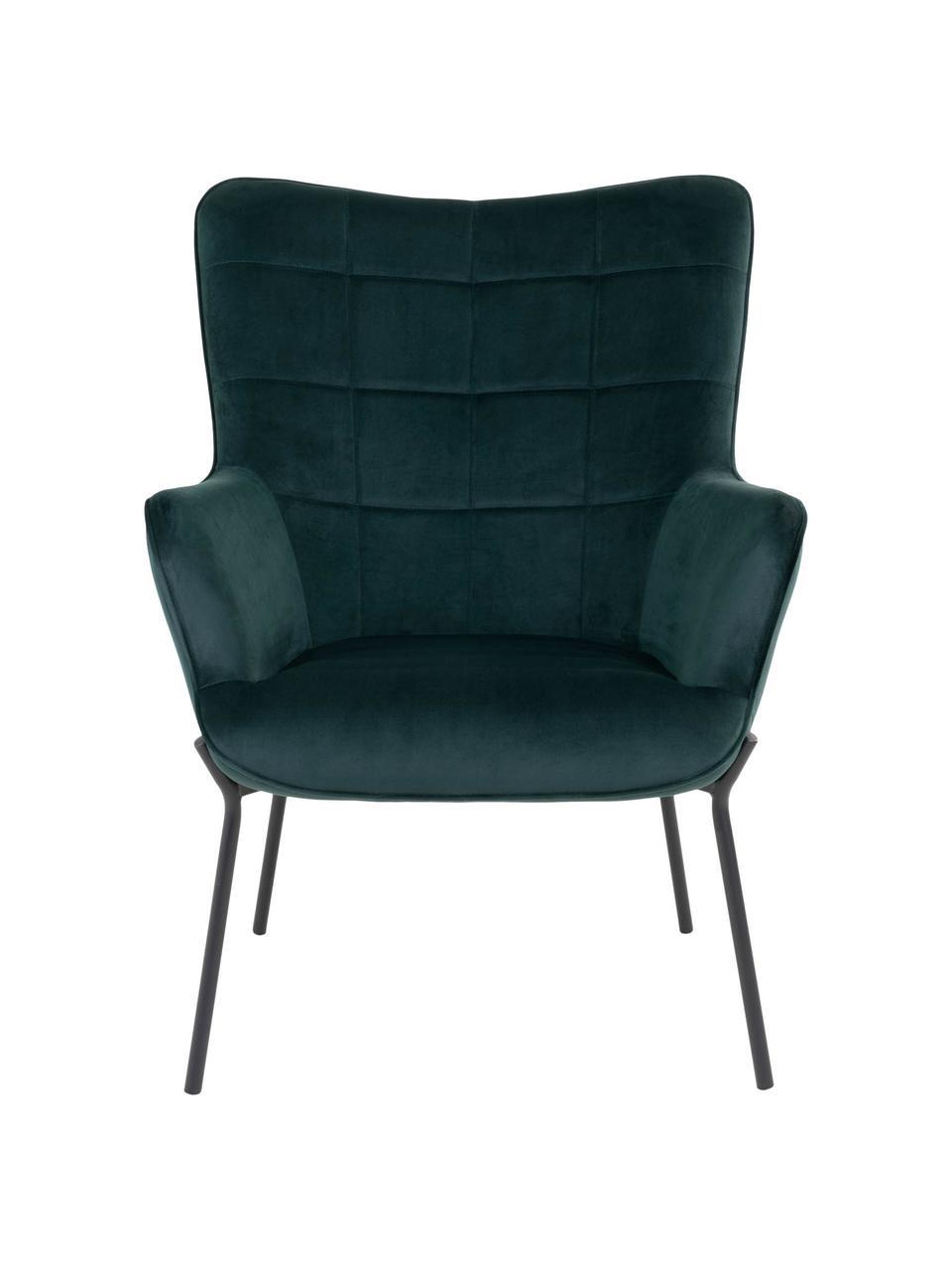 Fotel z aksamitu Glasgow, Tapicerka: 100% aksamit poliestrowy, Nogi: metal powlekany, Ciemnyzielony, S 70 x G 79 cm