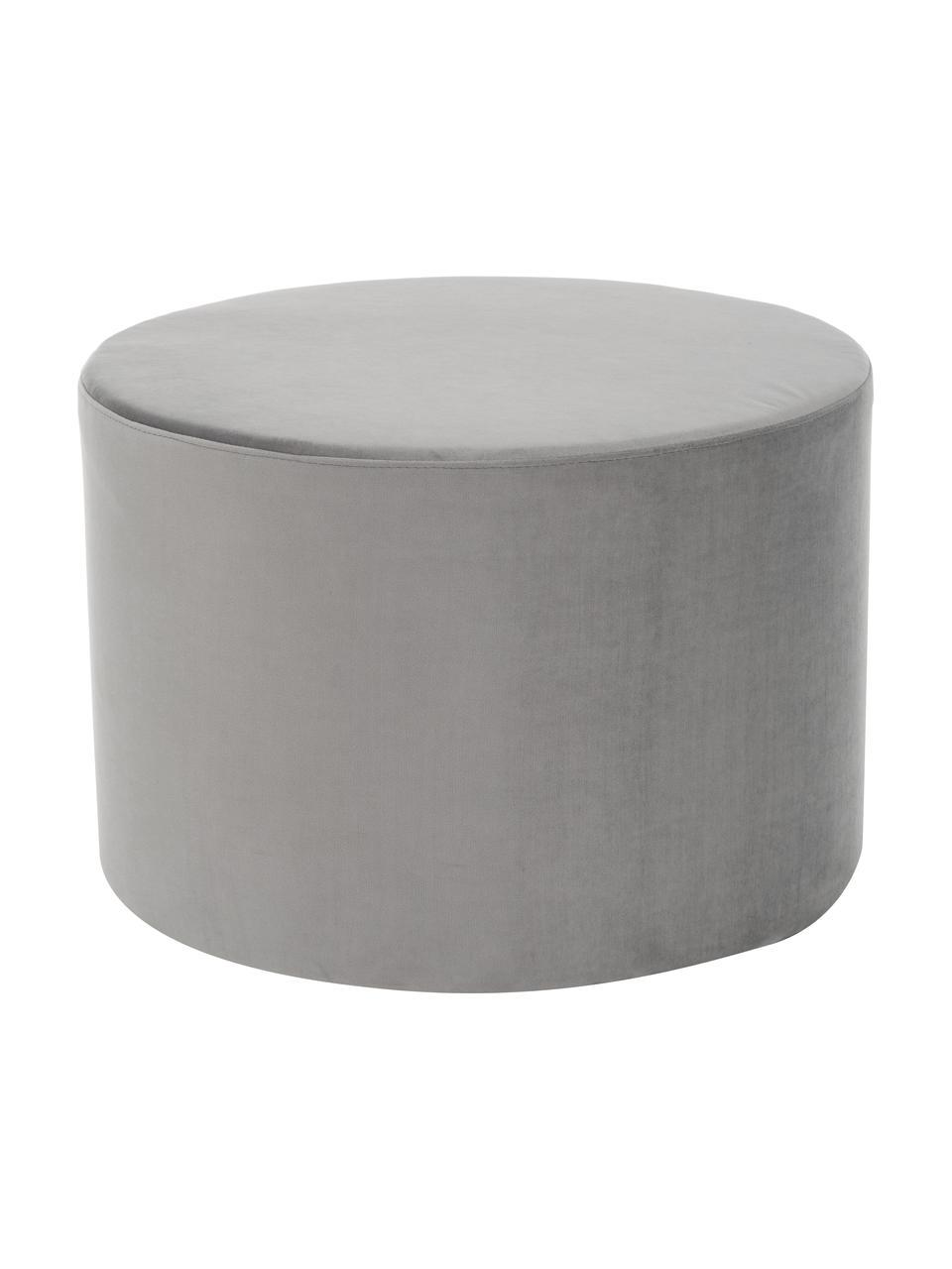 Pouf in velluto Daisy, Rivestimento: velluto (poliestere) 25.0, Struttura: compensato, Velluto grigio, Ø 54 x Alt. 38 cm