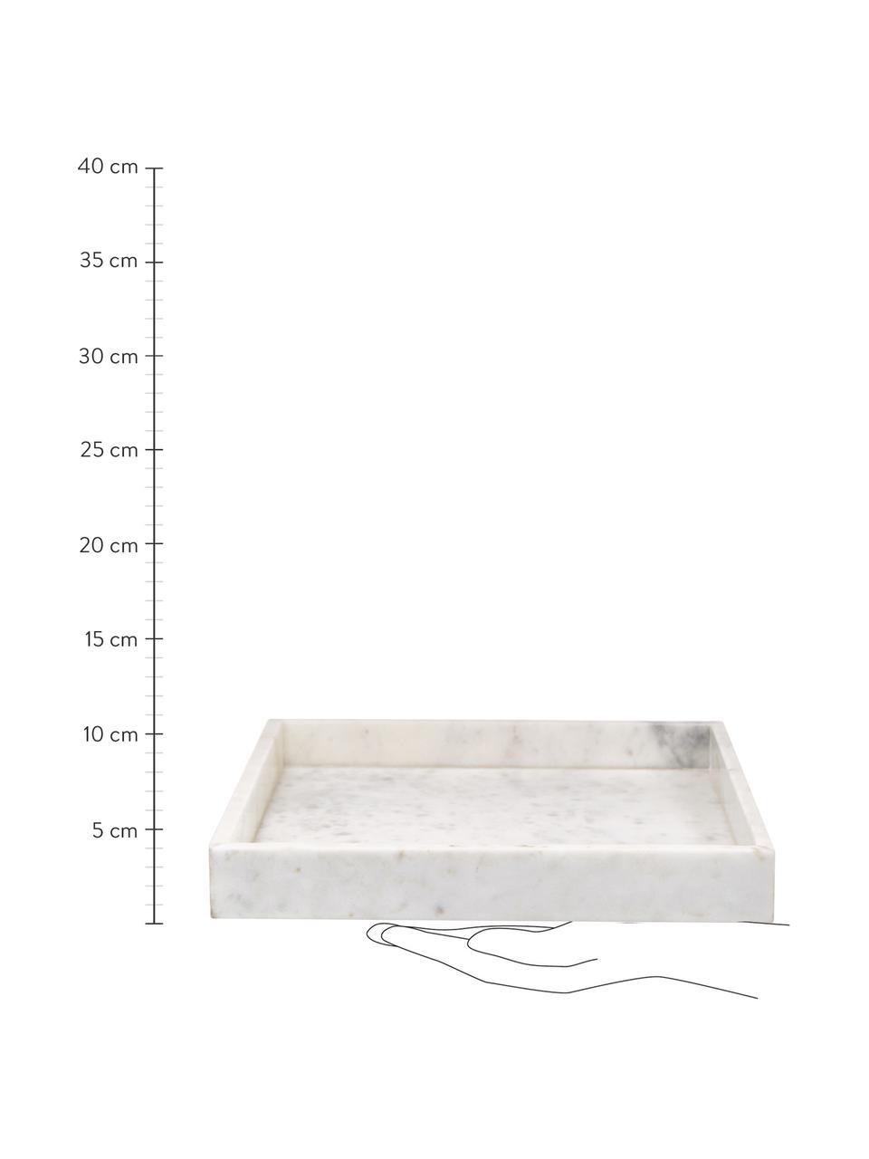 Decoratief marmeren dienblad Sienna in wit, Marmer, Wit, 30 x 4 cm